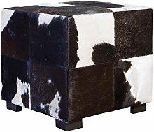 Würfelhocker - Fellhocker aus Kuhfell - schwarz/weiß - Schemel Beistellhocker Sitzhocker Dekohocker - Sitzhocker Stierfell schwarz weiß