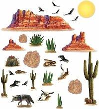 Wüsten-Dekoration, Cowboys und Indianer, Geburtstags-Party-Dekoration, 29 Stück, für Geschirr und Tassen