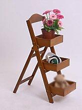 WUFENG 3 Ebenen - Massivholz Blumen Racks Kreative Gartenarbeit Einfache Blumen Racks Indoor Wohnzimmer Balkon Schlafzimmer Home Flower Racks Montage Blumentopf Regal