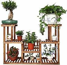 WUFENG Balkon Massivholz Blume Rack Wohnzimmer Blumentopf Rack Multi - Layer - Montage Pastoral Einfache Pflanze Rack