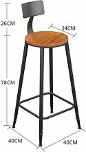 WUFENG Bar Stuhl Bar Hocker mit Massivholz / PU Sitz und Eisen Rahmen Komfortable Rückenlehne & Fußstütze Perfekt für Bar, Küche, Diner und gelegentliche Sitzplätze ( Farbe : A , größe : H3-73cm )