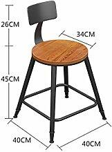 WUFENG Bar Stuhl Bar Hocker mit Massivholz / PU Sitz und Eisen Rahmen Komfortable Rückenlehne & Fußstütze Perfekt für Bar, Küche, Diner und gelegentliche Sitzplätze ( Farbe : B , größe : H5-60cm )