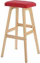 WUFENG Einfache Retro Bar Stuhl Holz Bar Hocker mit Stoff / PU Sitz und Holzrahmen Komfortable Rückenlehne & Fußstütze Holz Küche Tresenstuhl ( Farbe : E )