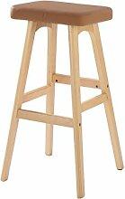 WUFENG Einfache Retro Bar Stuhl Holz Bar Hocker mit Stoff / PU Sitz und Holzrahmen Komfortable Rückenlehne & Fußstütze Holz Küche Tresenstuhl ( Farbe : A )