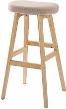 WUFENG Einfache Retro Bar Stuhl Holz Bar Hocker mit Stoff / PU Sitz und Holzrahmen Komfortable Rückenlehne & Fußstütze Holz Küche Tresenstuhl ( Farbe : I )