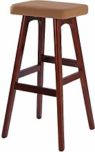 WUFENG Einfache Retro Bar Stuhl Holz Bar Hocker mit Stoff / PU Sitz und Holzrahmen Komfortable Rückenlehne & Fußstütze Holz Küche Tresenstuhl ( Farbe : J )