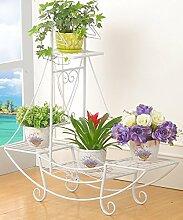 WUFENG Eisen Blumen Racks Europäischen Stil Vier Ebenen Boden Stil Blumentopf Rack Balkon Wohnzimmer Pflanze Regal Weiß Und Schwarz Montage Blumentopf Regal ( Farbe : B , größe : 76*24*74cm )