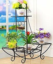 WUFENG Eisen Blumen Racks Europäischen Stil Vier Ebenen Boden Stil Blumentopf Rack Balkon Wohnzimmer Pflanze Regal Weiß Und Schwarz Montage Blumentopf Regal ( Farbe : A , größe : 86*23*90cm )