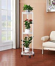 WUFENG Europäischen Stil 360-Grad-Mobile-Eisen-Blumenständer Mehrstöckigen Boden Balkon Blumentopf Rack Regal ( Farbe : Weiß , größe : 39*33*115cm )