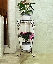 WUFENG Europäischer Eisen Blumenständer Multi - Storey Blumen Regal Balkon Wohnzimmer Pflanze Rack Indoor Multi - Purpose Flower Pot Rack ( Farbe : Bronze , größe : 37*23*68cm )
