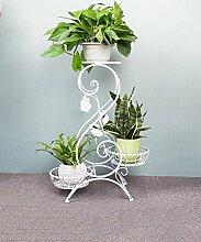 WUFENG Europäischer Stil Blumenrahmen Kreativ Multi - Storey Balkon Potted Regal / Indoor Wohnzimmer Blumentopf Regal ( Farbe : Weiß , größe : 32x26x65cm )