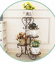 WUFENG Europäischer Stil Eisen-Blumen-Racks Mehrgeschossige Indoor-Pflanze Racks Wohnzimmer Balkon Blumentöpfe Regal ( Farbe : Bronze , größe : 40*25*80cm )