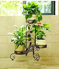 WUFENG European-style Iron Flower Rack Mehrgeschossige Indoor Blumentopf Rack / Wohnzimmer Balkon Pflanze Rack ( Farbe : Bronze , größe : 70*22*71cm )