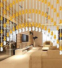 WUFENG Kristall Perlenvorhang Türvorhang Zimmer Tür Fenster Perlen Quaste String Vorhang Perlen Wandpaneel Raumteiler Halb Hängende Vorhänge ( Farbe : A , größe : 80*220cm )