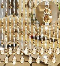 WUFENG Kristall Perlenvorhang Türvorhang Zimmer Tür Fenster Perlen Quaste String Vorhang Perlen Wandpaneel Raumteiler Halb Hängende Vorhänge ( Farbe : B , größe : 120*180cm )