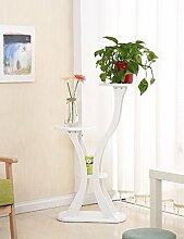 WUFENG Massivholz-Blumen-Zahnstange Europäisches Art-einfaches Wohnzimmer-hölzerner Bonsais-Blumen-Zahnstange (3 Farben sind vorhanden) Montage Blumentopf Regal ( Farbe : A )
