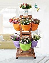 WUFENG Outdoor Massivholz Blumen Regal Multi - Layer Bonsai Wohnzimmer Indoor und Outdoor Blumentopf Rack ( größe : 130cm )