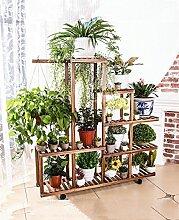 WUFENG Riemenscheibe Massivholz Blumentopf Rahmen Balkon Wohnzimmer Mehrstöckig Wooden Movable Bonsai Töpfe Regal Pflanze Flower Racks ( Farbe : A1 )