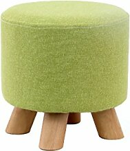 WUFENG Runder Hocker Upholstered Footstool gepolstert Schemel Runde Round Pouffe Footstool Fabric Cover 4 Legs and Removable Linen Cover Choice of 7 colors ( Farbe : A )
