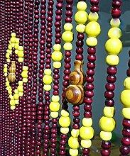WUFENG Sommer Zimmer Tür Fenster Hölzern Perlenvorhang Türvorhang Fadenvorhang Fadenstore Raumteiler Anti-Moskitos Vorhänge ( größe : 80*175cm )