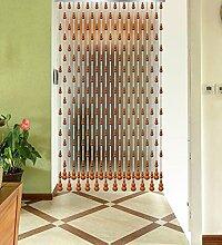 WUFENG Sommer Zimmer Tür Fenster Hölzern Perlenvorhang Türvorhang Fadenvorhang Fadenstore Raumteiler Anti-Moskitos Vorhänge ( Farbe : A , größe : 100*80cm )