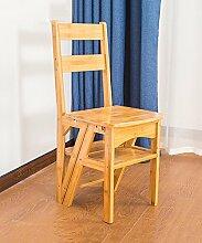 WUFENG stuhl-leiter Hockerleiter Tritt- kleine Leiter Tritthocker Klapphocker Retractable Wooden Stool Ladder Staircase Trittleiter Treppe Bambus ( Farbe : A )