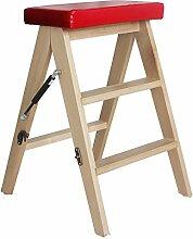 WUFENG Tritthocker Klappstühle aus Massivholz Aufsteigender Hocker Drei Farben erhältlich 40x20x63cm (Farbe : Rot)