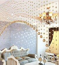 WUFENG Vorhang Crystal Beaded Tür Vorhang Raum Tür Fenster Perlen Schnur Vorhang Perlen Wandpaneel Fringe Divider Semi-hanging Vorhänge Vorhänge ( Farbe : A , größe : 165cm wide )