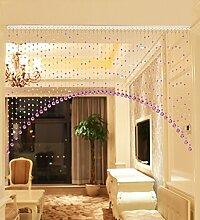 WUFENG Vorhang Crystal Beaded Tür Vorhang Raum Tür Fenster Perlen Schnur Vorhang Perlen Wandpaneel Fringe Divider Semi-hanging Vorhänge Vorhänge ( Farbe : F , größe : 120cm wide )