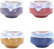 WUHUAROU Keramik Sukkulenten Töpfe 4 Stücke 6 cm