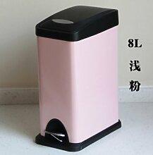 Wuieayon Mode Originalität Rechteck Edelstahl Pedal Mülleimer, 8 L Haushalt Küche Wohnzimmer, 8 L Länglich Rosa
