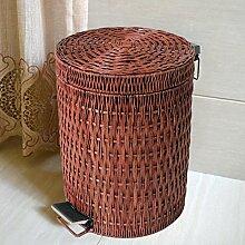 Wuieayon Mülleimer, Europäischen Stil Fuß Art Mülleimer, Wohnzimmer, Wc, Modische Mülleimer, 12 L Drei Webart Braun