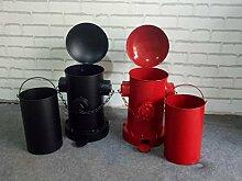 Wuieayon Retro Gemacht Altes Eisen Mülleimer, Haushalt Pedal Art Kreative Hydranten, Mülleimer, Rote Tuba