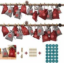 WuLi77 Weihnachtssack,24Pcs Adventskalender