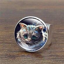 Wunderland Ring aus Glas für Frauen, Antik-Optik,