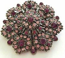 Wunderschöne Brosche Farbe silber, Swarovski Kristall lila-rose Gesschenk