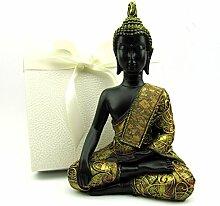 Wunderschöne detailreiche Buddha Skulptur, Deko Figur 21 cm hoch, schwarzbraun-gold in eleganter Geschenkbox, Geschenkidee zum Geburtstag, Dekoration für Wohnzimmer, Geschenkidee zu Weihnachten (Kunststein sitzend)
