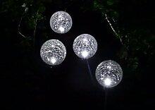 Wunderschöne Gartenleuchte aus hochwertigem Edelstahl Garten-Beleuchtung Solarlampe Solarleuchte - Wunderschönes Set Solarleuchten mit LED Beleuchtung in weiß mit Lichtsensor und Erdspieß