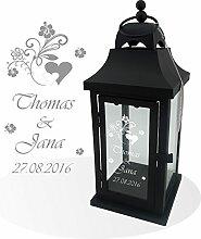Wunderschöne Metall Laterne schwarz matt inkl. Wunschgravur, Wunschtext. Die Geschenkidee! z.B.zur Hochzeit, Geburtstag,