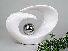 Wunderschöne Skulptur weiß silber aus Keramik