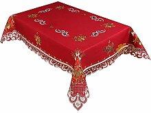 wunderschöne Weihnachten Tischdecke Dunkelrot Leinenoptik Rot Kerzen Stickerei (ca. 110x140 cm Eckig)