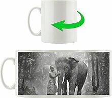 wunderschöner Elefant mit Mönch Kunst Kohle