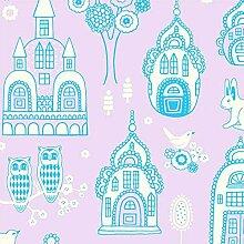 Wundervolle Kinderzimmer-Tapete für kleine Prinzen und Prinzessinnen - Welt der Paläste - Vliestapete 10,05 x 0,53 m (Länge x Breite) - Versetzter Ansatz - glatte Oberfläche - Stil: Kinder und Tiere - mit vielen liebevollen Details zum Entdecken wie zum Beispiel Schlössern Burgen Eulen Hasen und mehr - Farbe: Helllila, Blau, Weiß