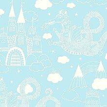 Wundervolle Kinderzimmer-Tapete für kleine Ritter und Prinzessinnen - Märchenwelt - Vliestapete 10,05 x 0,53 m (Länge x Breite) - Gerader Ansatz - glatte Oberfläche - Stil: Kinder und Tiere - mit vielen liebevollen Details zum Entdecken, z.B. Schlösser und Drachen - Farbe: Hellblau, Weiß