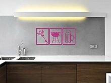 Wurst - Grill - Bier - Pink - ca. 105 x 45 cm