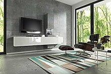 Wuun ® Wohnwand Muro in Weiß- Beton Beleuchtung