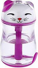 WW Lucky Katze Luftbefeuchter Mini Leuchtenden Licht Usb Leise Reinigung Home Office Zerst?uber Luftreiniger,Lila,Einheitsgröße