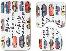 WWDDVH Cartoon Bus Badmatte 3 Stücke Badteppich