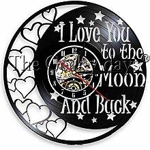 wwwff Vinyl Wanduhr Ich Liebe Dich bis zum Mond