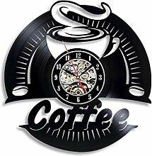 wwwff Vinyl Wanduhr Kaffee Vinyl Schallplatte